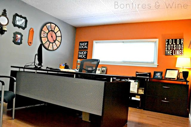 Orange And Gray Office Decor
