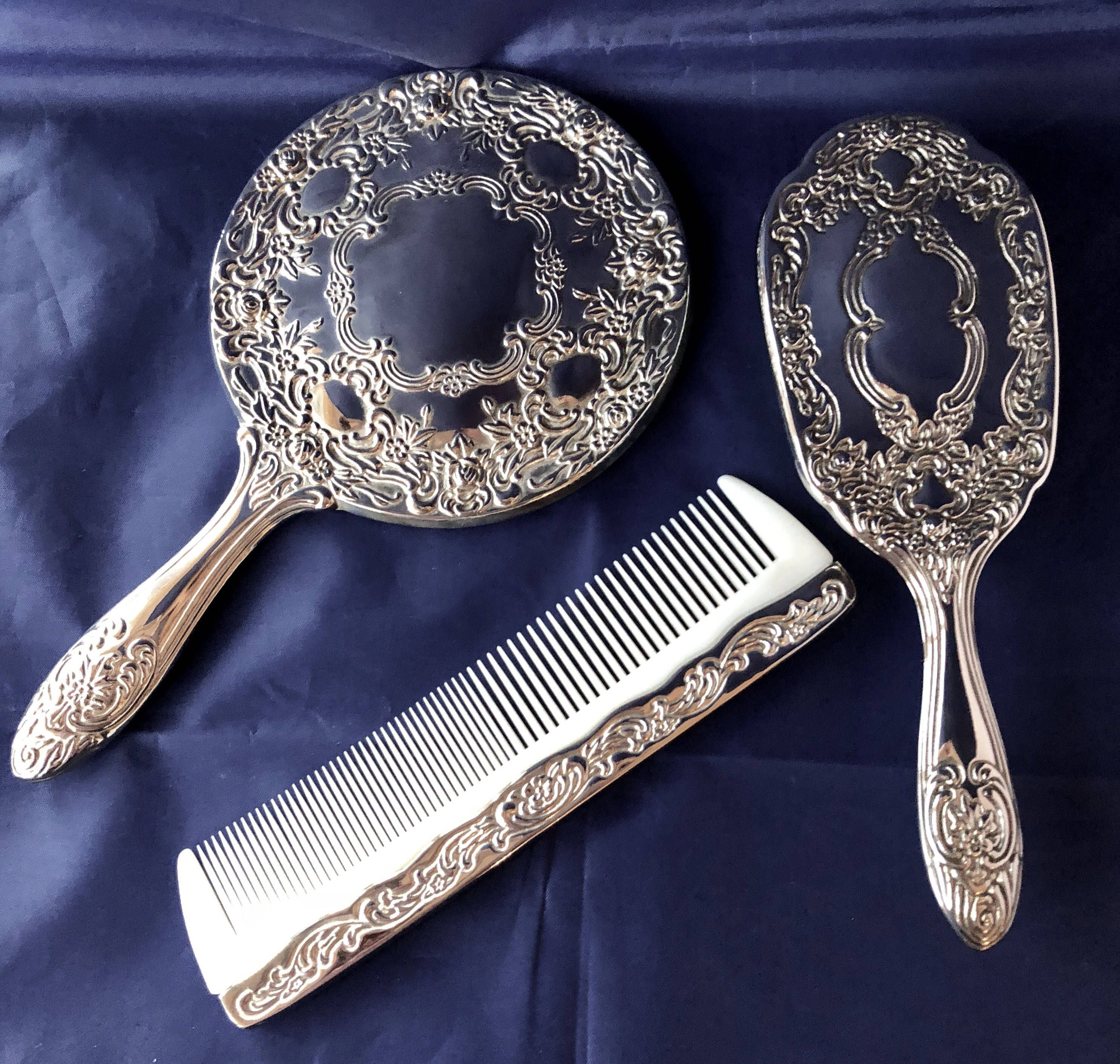 A superb elaborate vintage three piece silver plated vanity set. Such a lovely gift. & A superb elaborate vintage three piece silver plated vanity set ...