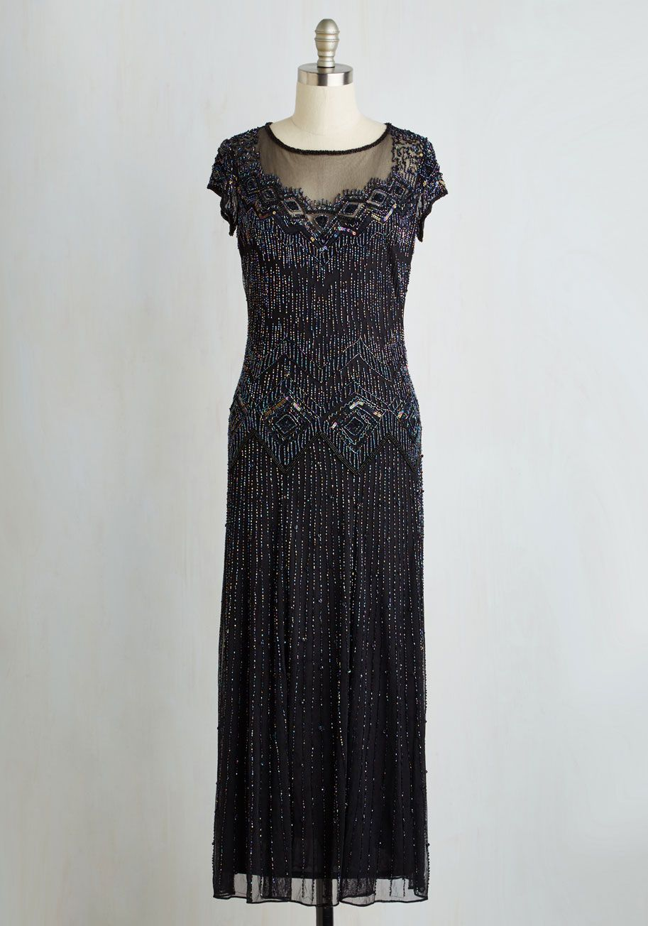 a3941944e1 Spark Inspiration Dress. Every stylista who lays eyes on your glistening  gown will be struck with motivation to sparkle!  black  modcloth
