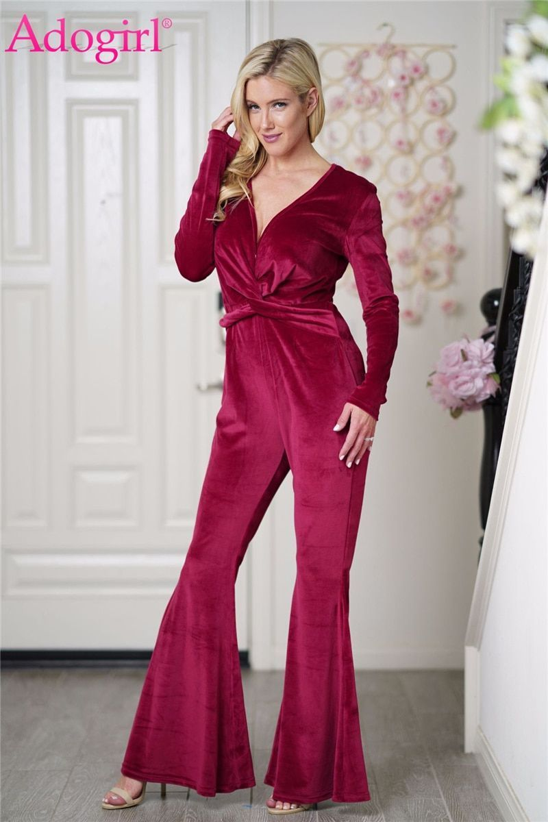15dc9ace521 Women velvet jumpsuit twist sexy deep v neck long sleeve boot cut flare  pants fashion rompers club party bellbottoms  women  jumpsuits     rompers   full ...