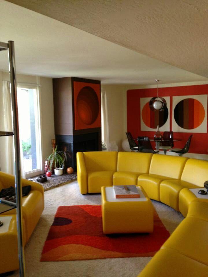 70s Living Room Geiles Gelbes Sofa