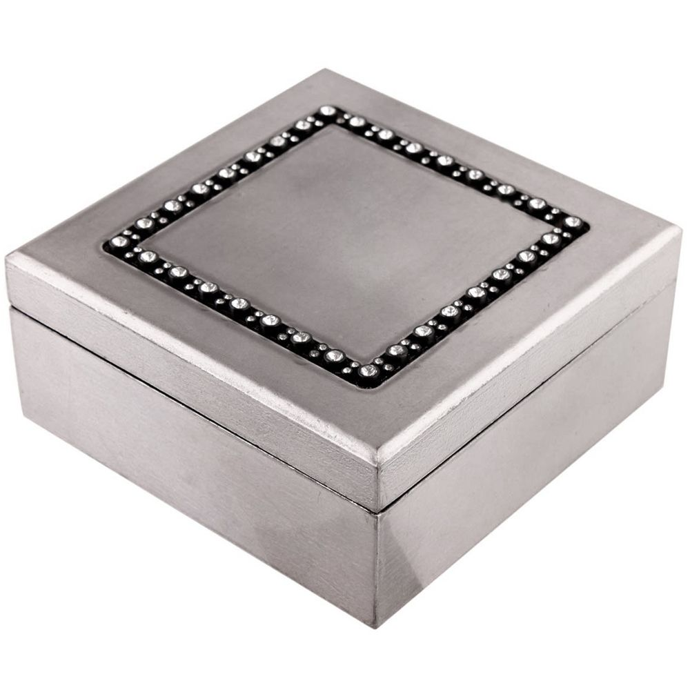 GEM   Crystal Detail Square Trinket / Jewellery Storage Box   Dark Silver