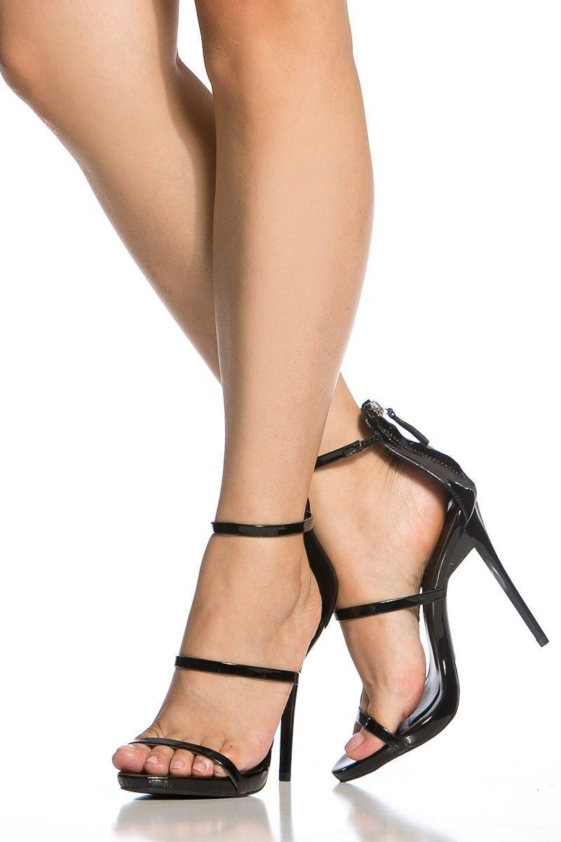 5111d06f4304 Black Faux Patent Leather Single Sole Heels   Cicihot Heel Shoes online  store sales Stiletto Heel Shoes