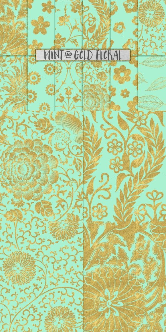 Mint and Gold Floral Backgrounds Floral background, Mint