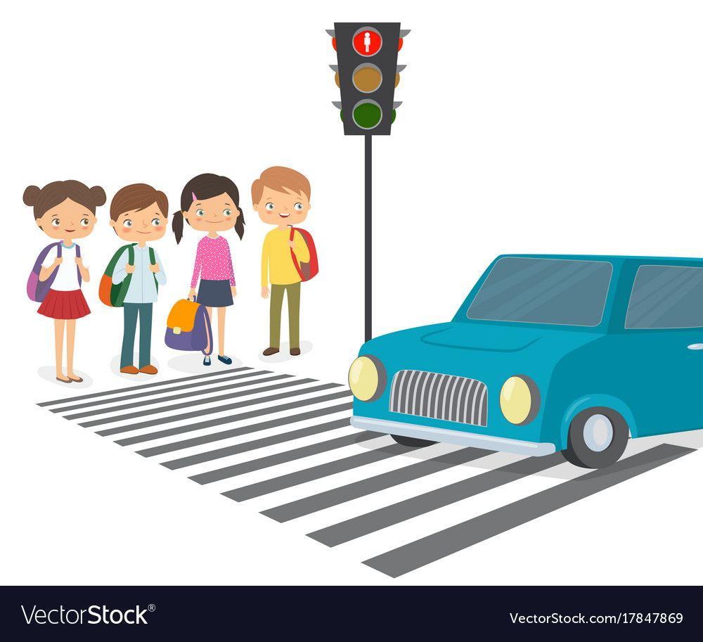 Children Wait For A Green Traffic Light Signal Vector Image Green Traffic Light Traffic Light Signal Traffic Light