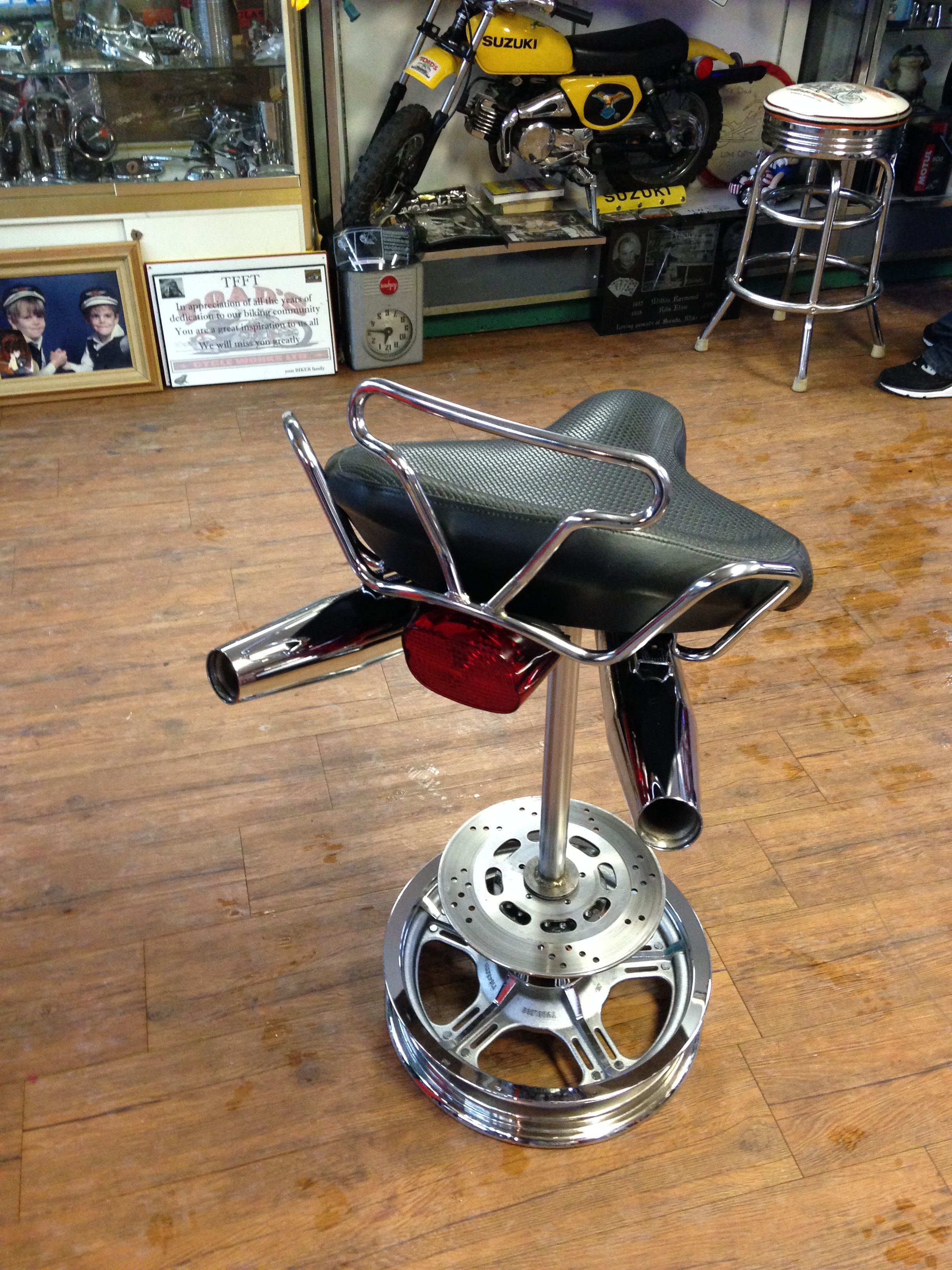 Pleasant Custom Motorcycle Stool Man Cave Basement Bar Stools Caraccident5 Cool Chair Designs And Ideas Caraccident5Info
