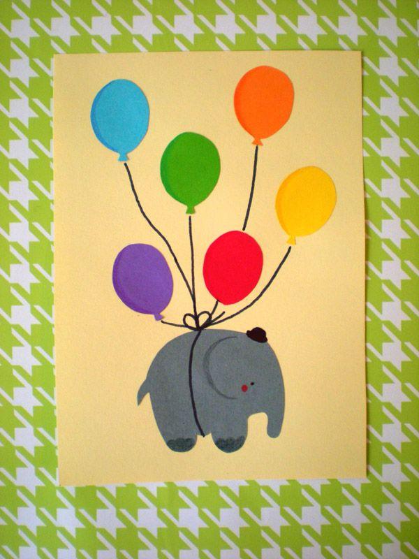 geburtstagskarte mit elefant und luftballons  luftballons
