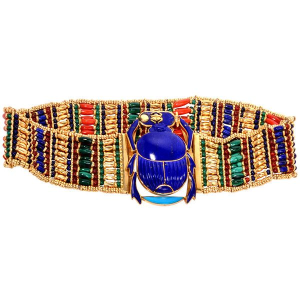 Pre-owned Egyptian Scarab Lapis Coral Turquoise Gold Wide Necklace (255,505 MXN) ❤ liked on Polyvore featuring jewelry, necklaces, choker necklaces, gold necklaces, multi color beaded necklace, turquoise choker necklace, gold bead necklace and choker necklace