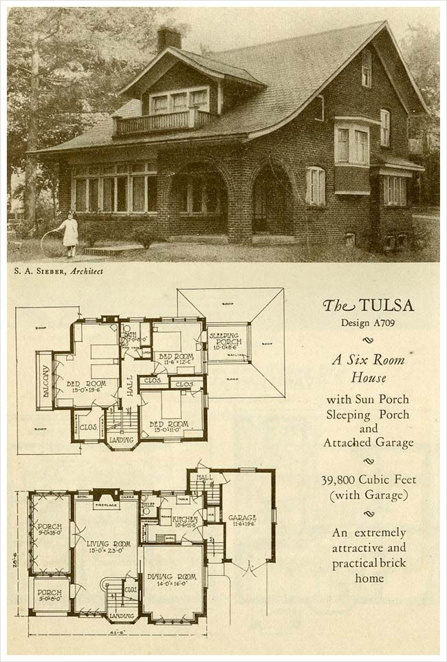 Great Site For Antique Homes Many Styles 1927 Brick Houses The Tulsa Vintage House Plans House Floor Plans Craftsman House
