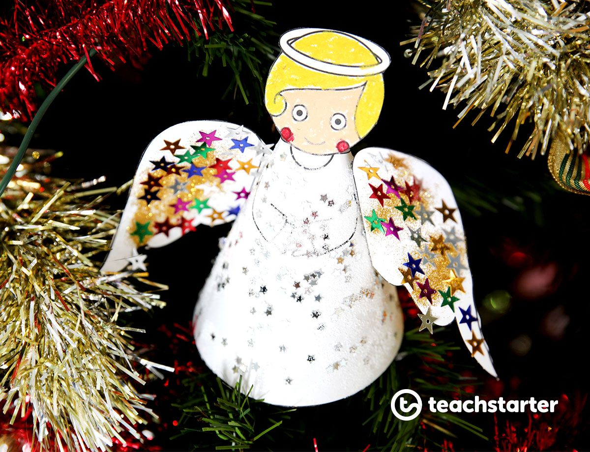 Paper angel printable red ted art.