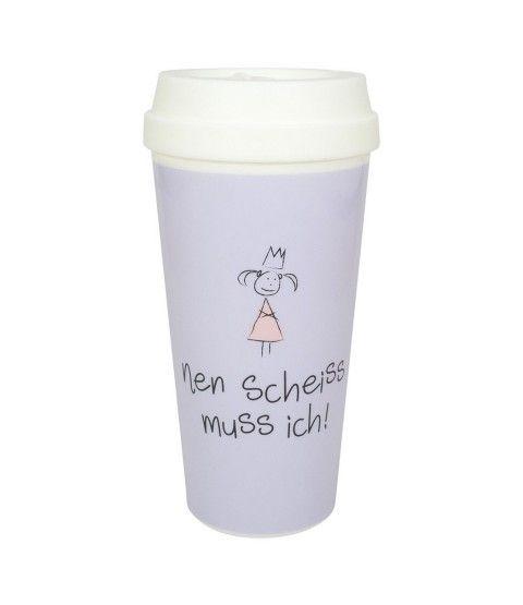 Coffee to Go NEN SCHEISS MUSS ICH von Mea-Living Kunststoff Reisebecher Kaffeebecher Becher  - 2-flowerpower