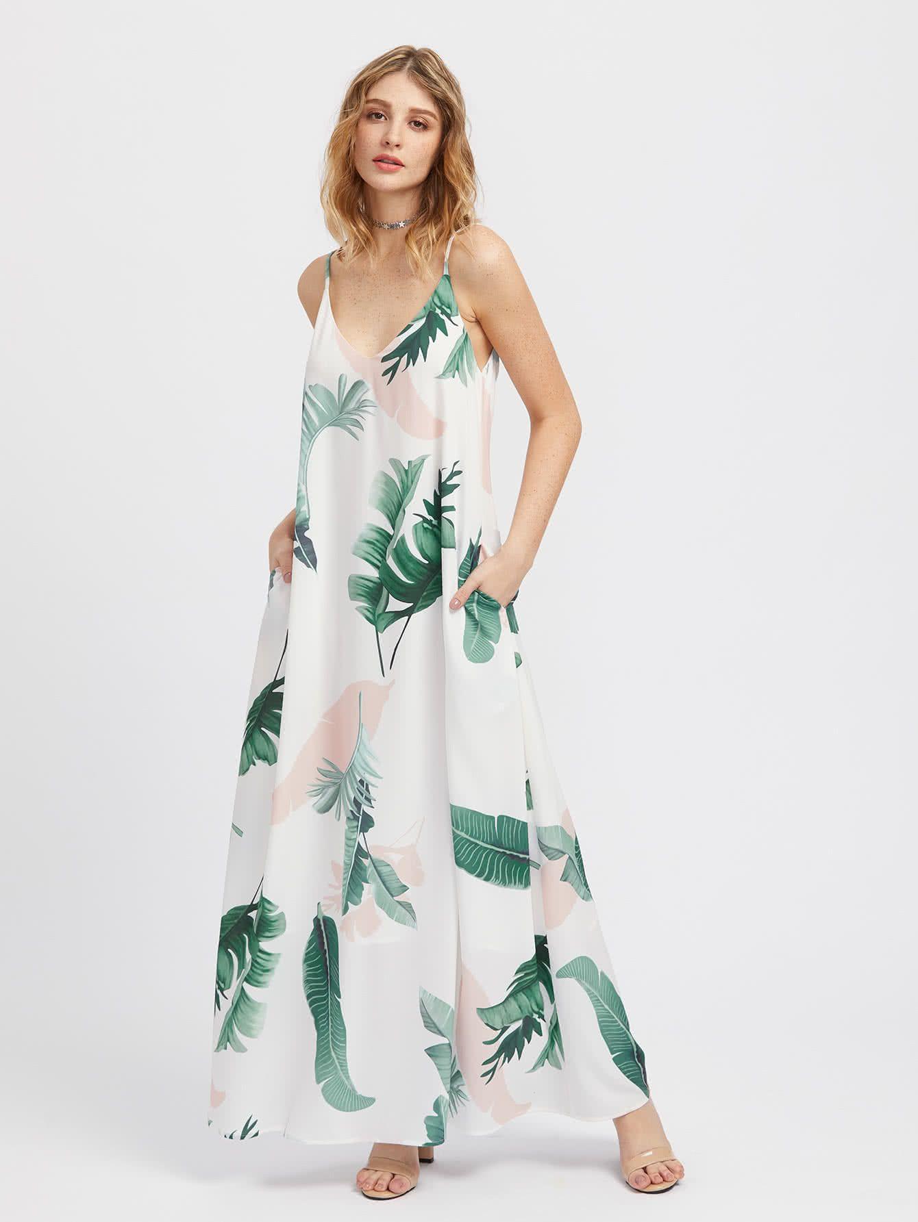 Jungle Leaf Print Hidden Pocket Side Cami Dress Shein Sheinside Maxi Dress Summer Maxi Dress Dresses [ 1785 x 1340 Pixel ]