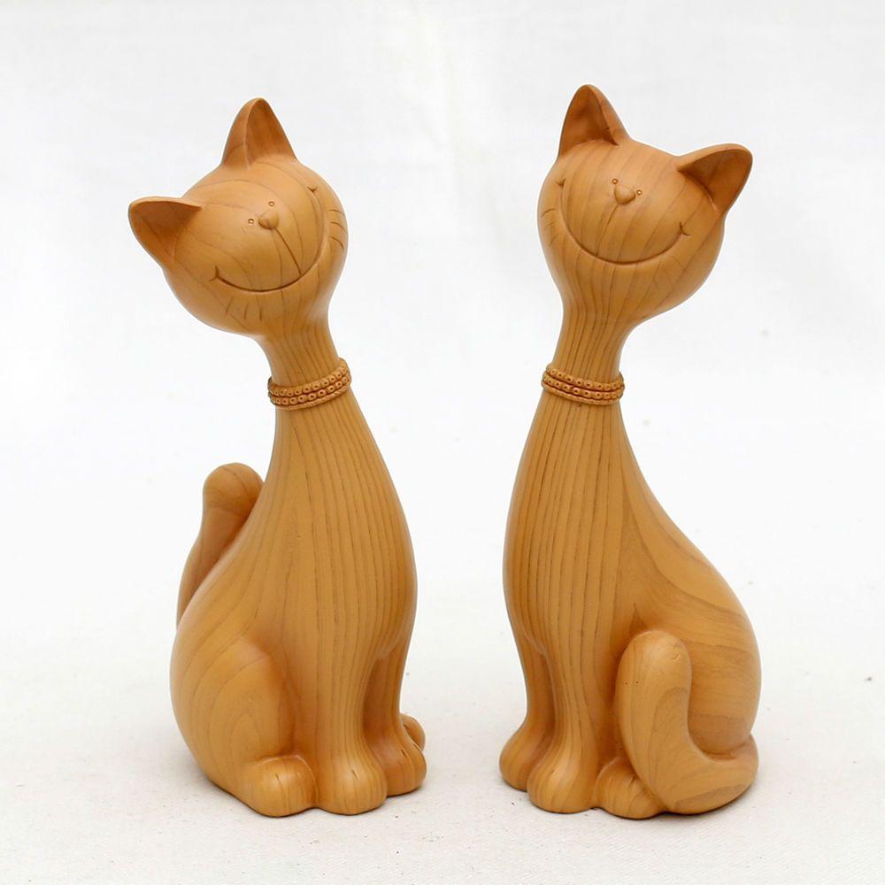 Deko-Katzenpaar Tierfigur Skulptur Katze Holzoptik Höhe 21 cm