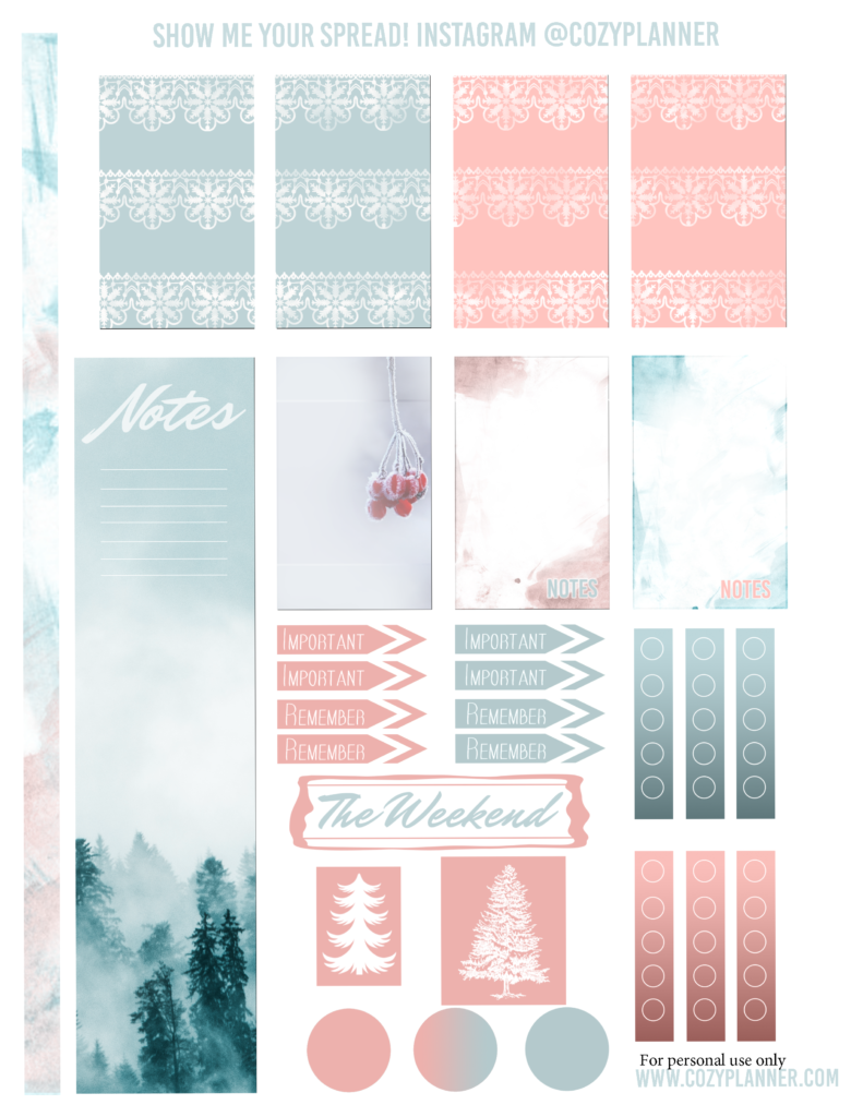 Free Printable Cool Winter Planner Stickers For Happy Planner Cozy