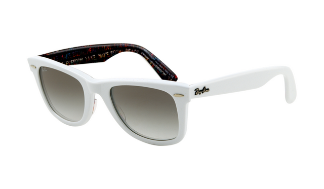 Best Ray Ban RB2140 Wayfarer Sunglasses Top Texture on White Frame Crystal  Gradient Light Grey Lens