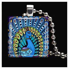 Peacock Art Jewelry Necklace Folk Art Print Pendant Handmade