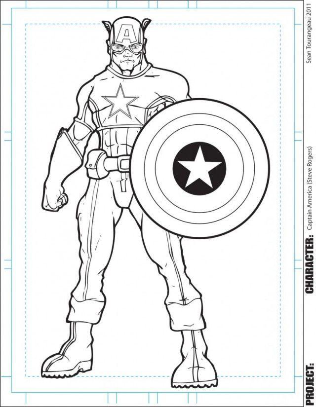 Avengers Captain America Página para colorear para niños ...