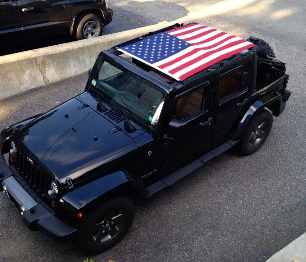 Jeep Wrangler American Flag Sun Screen Top By