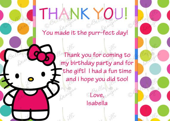 Hello Kitty Birthday Thank You Card By Bellalillidesigns On Etsy