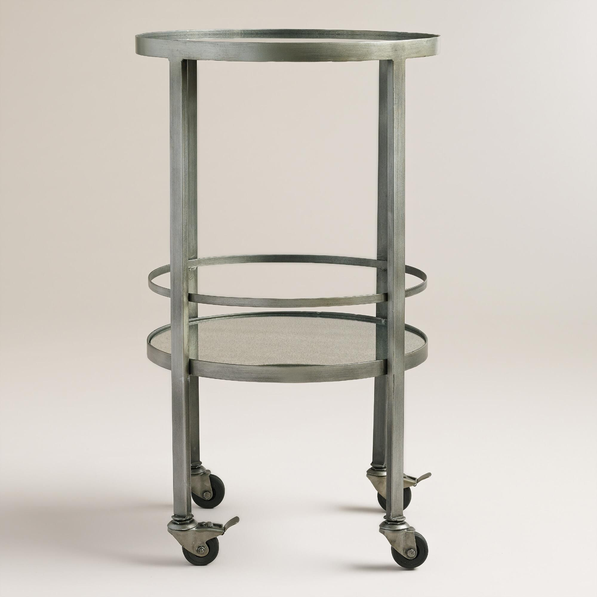 Serve Drinks In Style With Our Portable Bar Cart, Featuring A Silver  Finish, Mirror Shelves And Attached Wheels. Set Up Your Home Bar In The  Corner Or Move ...