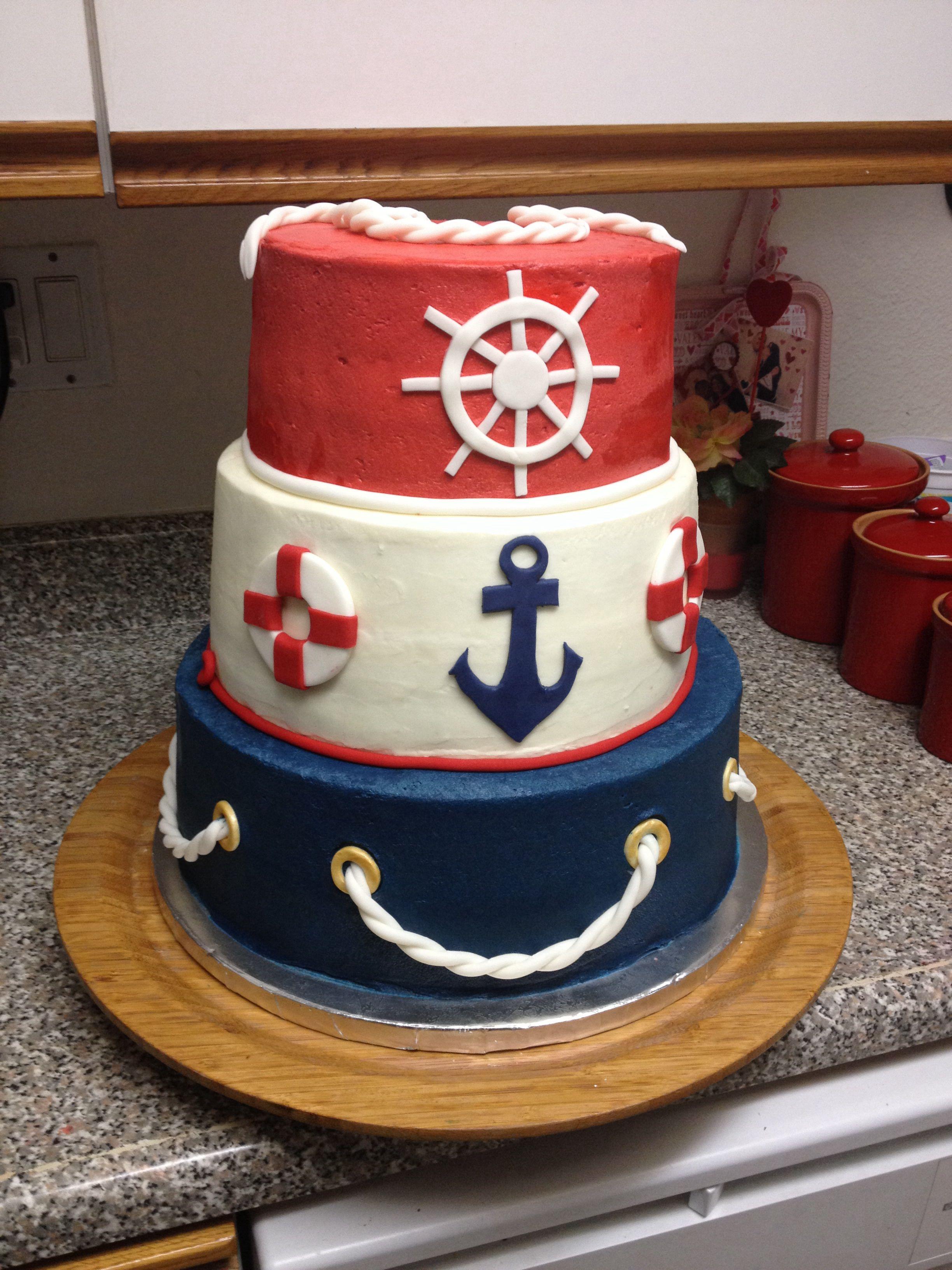 12/10/8 Buttercream Nautical Cake Boy Baby Shower