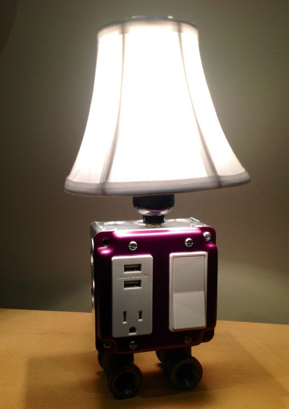 table or desk lamp with usb charging station by bosslamps on etsy - Nightstand Lamp
