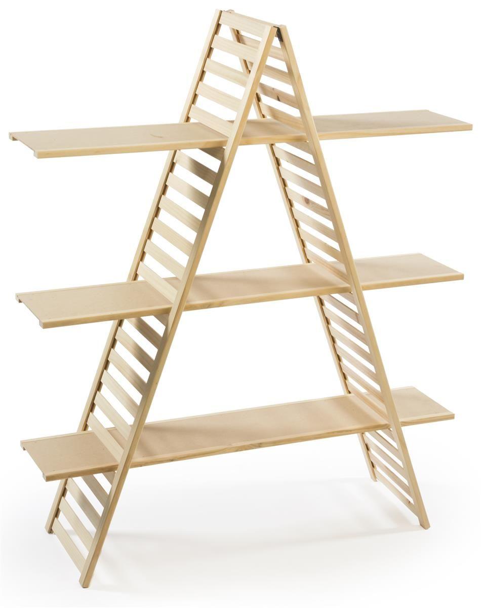Wooden Retail Shelving Unit W 3 Shelves A Frame Design Pine