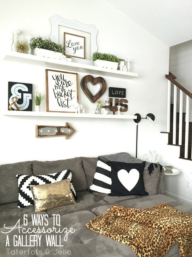 how to decorate living room wall shelves storage furniture 6 ways accessorize a gallery home decor from michaelsmakers tatertots and jello