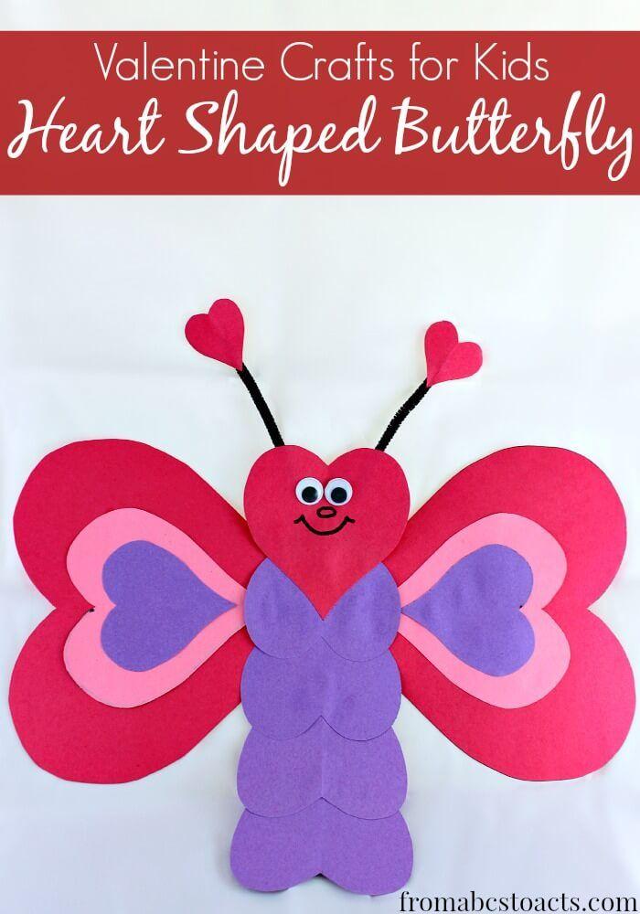 Heart Shaped Crafts : heart, shaped, crafts, Valentine, Crafts, Kids:, Heart, Shaped, Butterfly, Kids,, Crafts,, Preschool