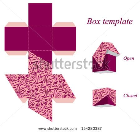 Interesting square box template with lid and seamless pattern - box template