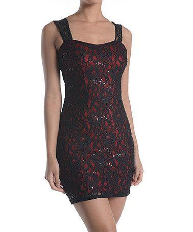 Look at this #zulilyfind! Red & Black Lace Overlay Bodycon Dress #zulilyfinds