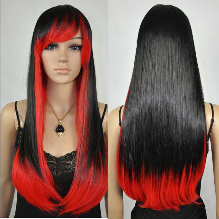 Black Red Mixed Colors Ramp Bangs Straight Women's Long