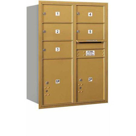 Salsbury Industries 4C Horizontal Mailbox 11-Door High Unit (41 inch), Double Column, 5 MB2 Doors, 2 PL5'S, Aluminum, Rear Load, Usps Access, Gold
