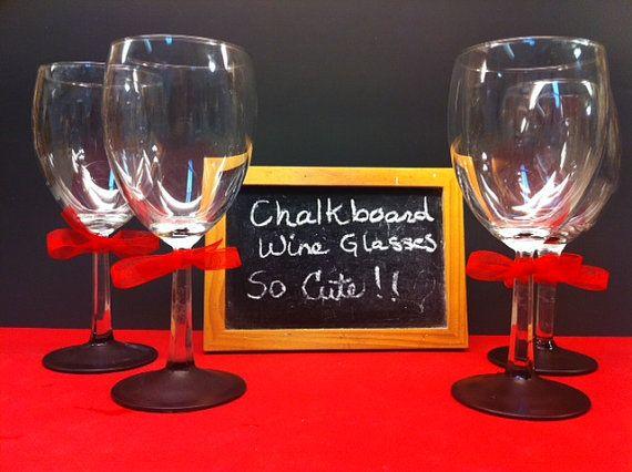 Wine Glasses  Chalkboard Base Set of 4 by LadyWithTheCuteGlass, $21.00