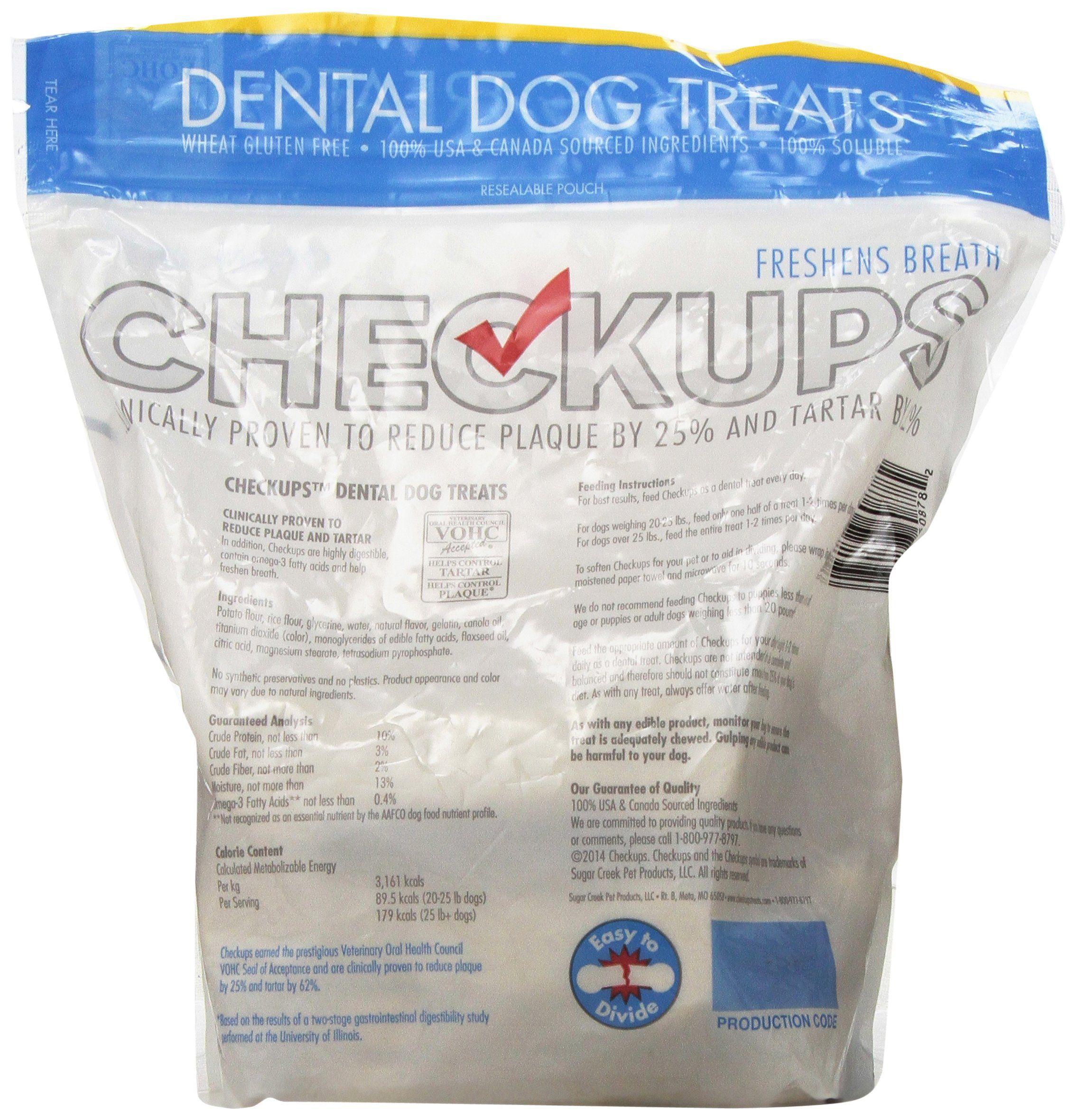 Checkups Dental Dog Treats 24ct 48 oz. for dogs 20 pounds