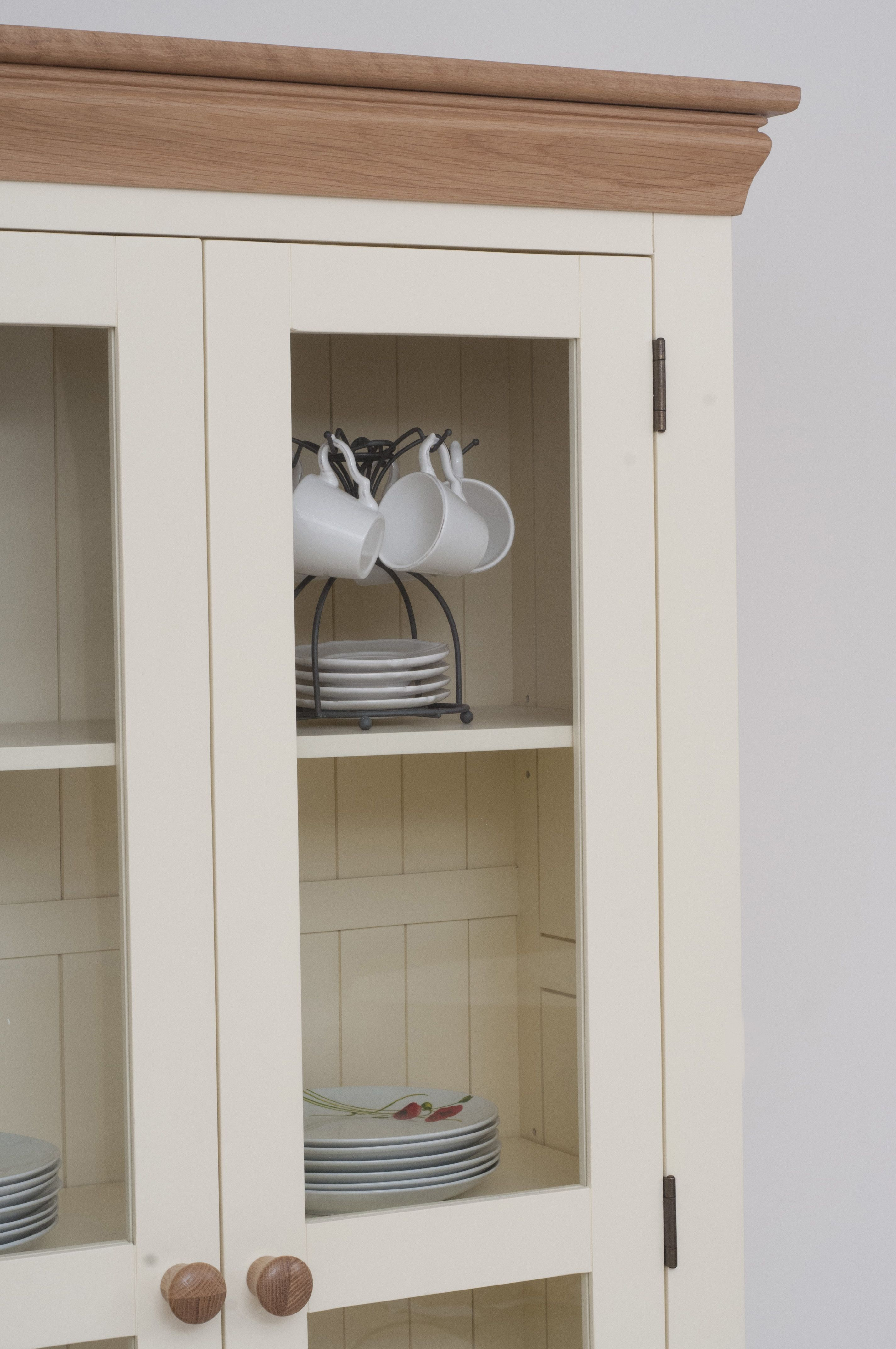 Cabinet Oak Furniture Country Cottage Painted Funiture Cabinet Cream Display Cabinet