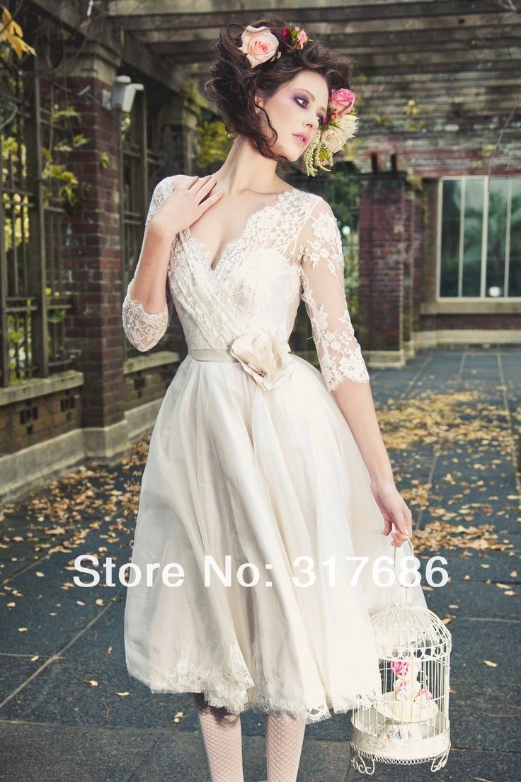 tea length bridal gowns with sleeves | tea length wedding dress with ...