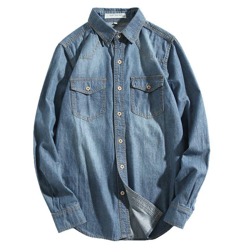 Xswsy XG Men Denim Shirt Classic Slim Short Sleeve Shirt Vintage Solid Shirts