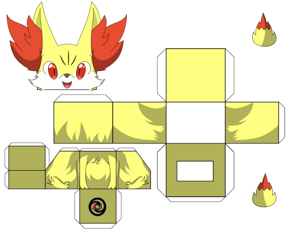 Ausmalbilder Pokemon Glumanda : Fennekin Cube Pokemon Party Pinterest