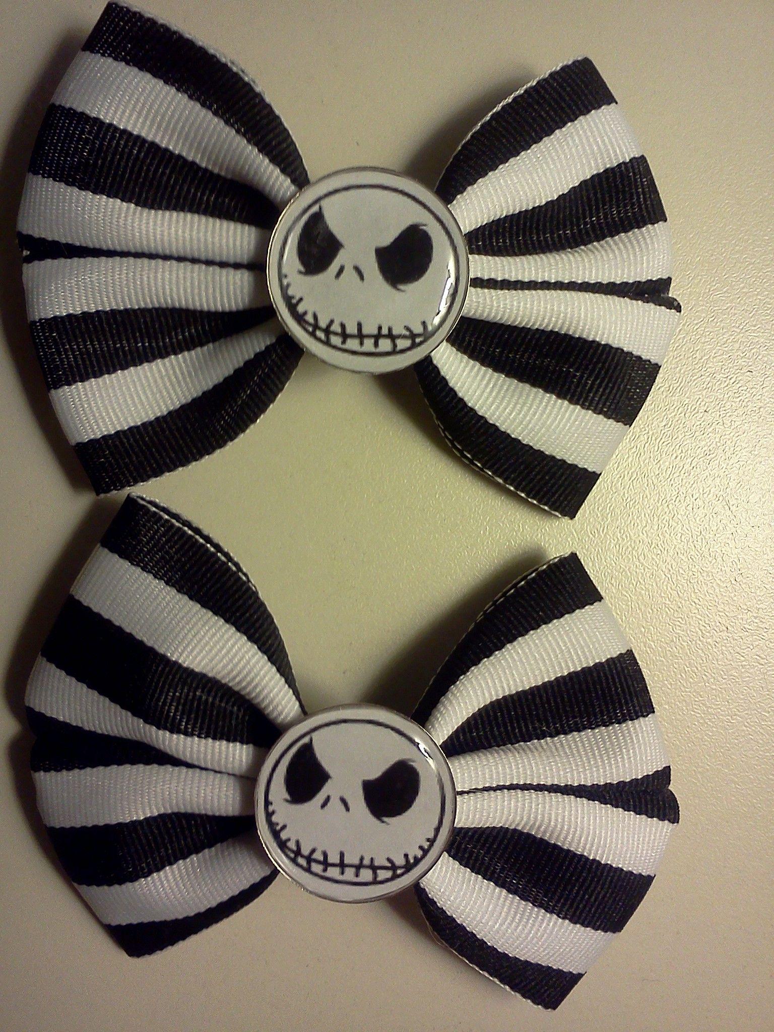 Jack Skellington Hair Bows   Halloween hair bows, Disney ...