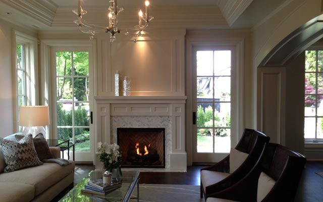 I love the wooden french doors on either side of the for Fireplace with windows on each side