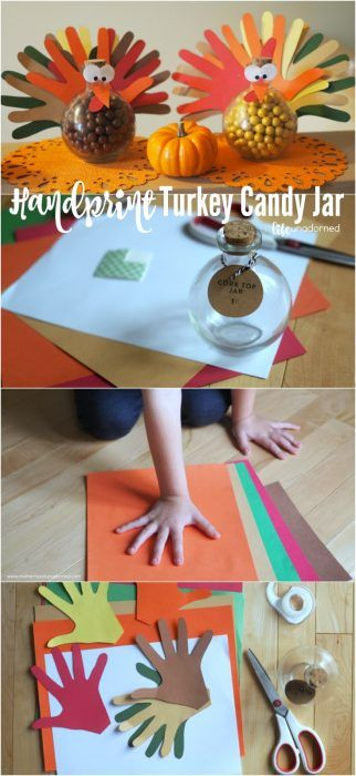 A fun Thanksgiving project with the kids! Handprint Turkey Candy Jar Tutorial
