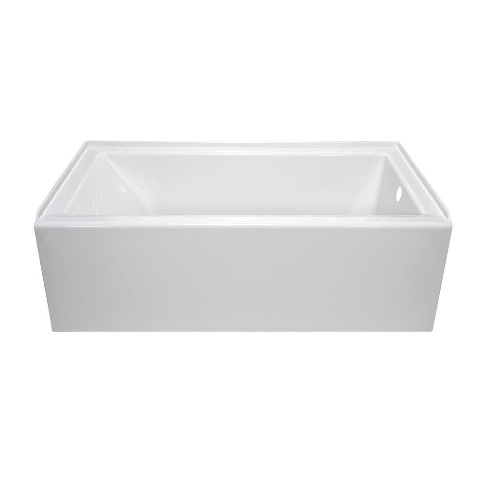 $512 Lyons Industries Linear 5 ft. Right Drain Bathtub in White ...