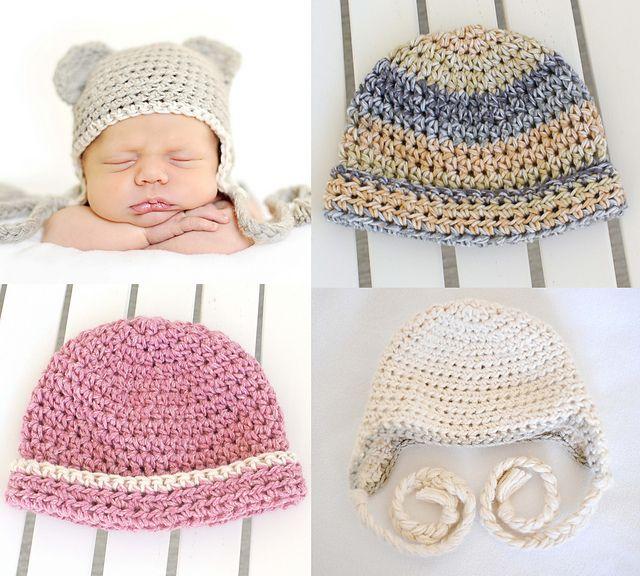 Newborn Crochet Hats - free crochet patterns | Knitting | Pinterest ...