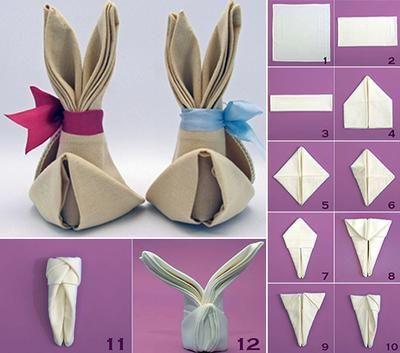 Osterhasen Aus Servietten Falten servietten hase mit schleife hübsche tischdeko zu ostern diy