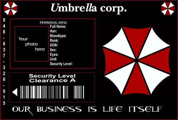 Umbrella Corp ID Template by ~purplepuddlenut on deviantART - blank id card template