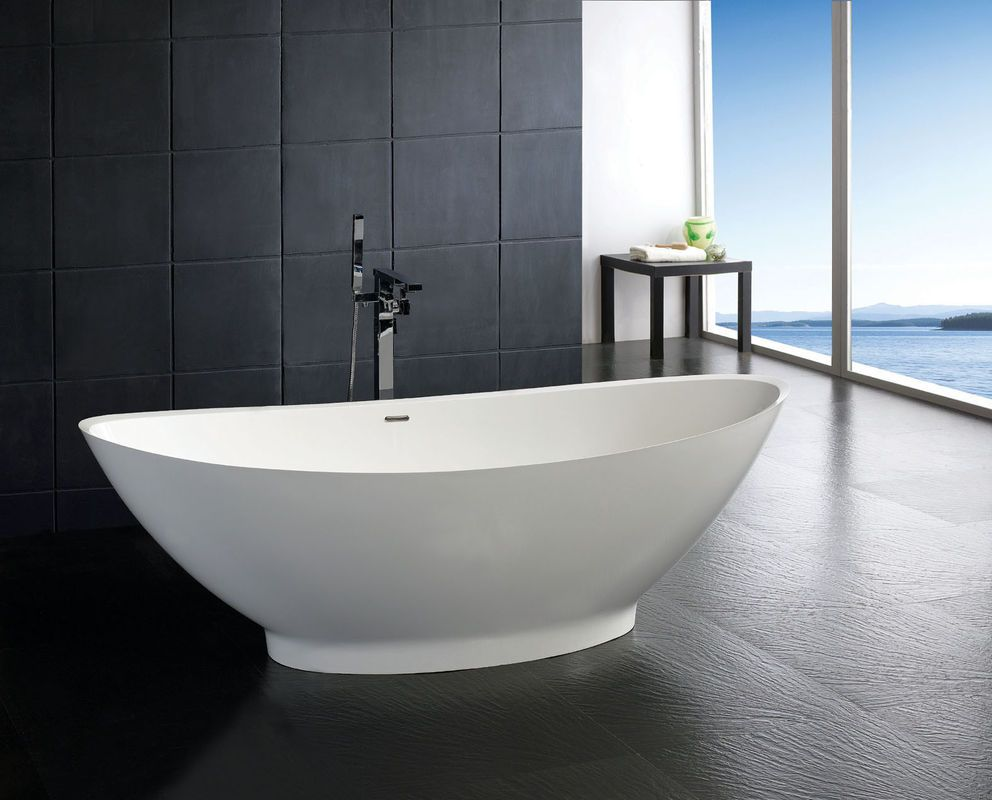 Soaker tubs free standing stone resin bathtub for Free standing bath tub
