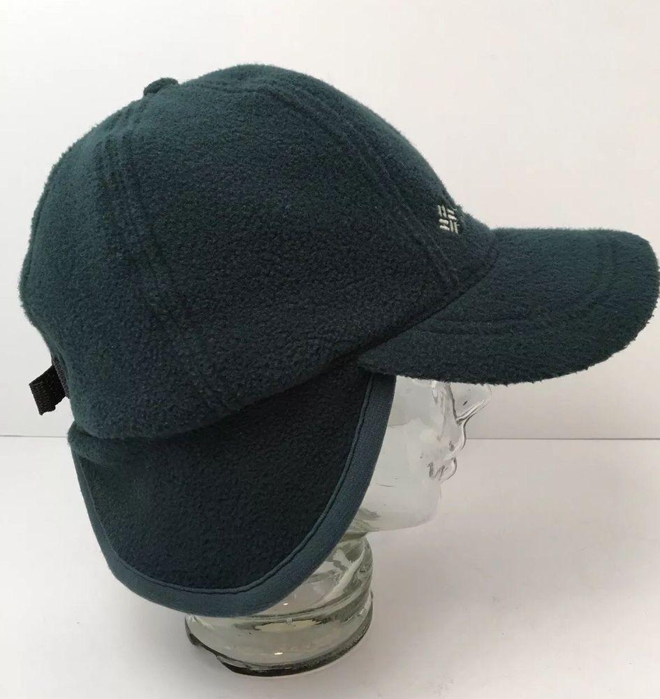 e8ab10931bc934 Vintage Columbia Winter Fleece Hat With Ear Flaps USA Made Green Adjustable  #Columbia #BaseballCapwithEarFlaps