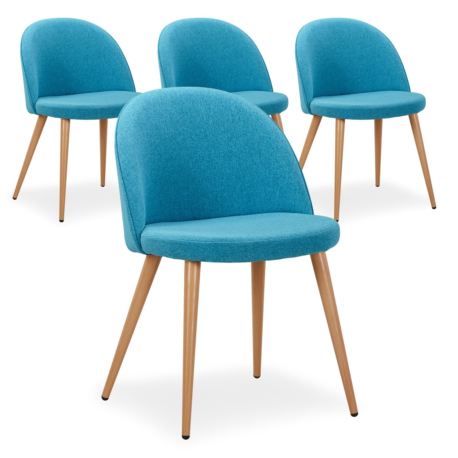 lot de 4 chaises scandinaves eliott tissu bleu. Black Bedroom Furniture Sets. Home Design Ideas