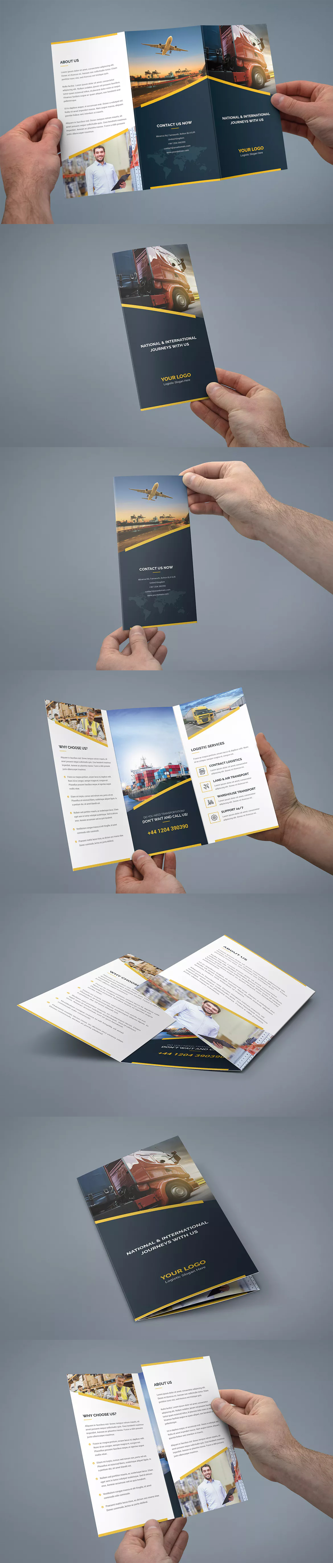 Logistic Tri-Fold Brochure Template PSD A4 and US Letter Size ...